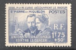 1938  Pierre Et Marie Curie  Yv 166 * - St.Pierre Et Miquelon