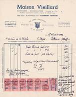 63 CLERMONT FERRAND  FACTURE 1949 Confiserie Chocolaterie Maison VIEILLARD  Pâtes De Fruits    A84 - France