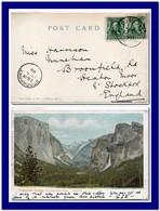 1905 Unted States USA Postcard Yosemite Valley CA Sent To England - Brieven En Documenten