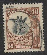 "Tanganyika, 1922, 40 Cents, Brown, ""giraffe"", Used - Tanganyika (...-1932)"