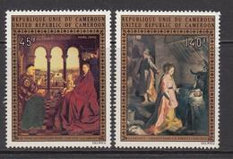 1973 Cameroun Christmas Paintings By Van Eyck & Barocel Set Of 2 MNH - Kameroen (1960-...)