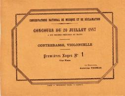 5 Billets Pour L'entrée Au Concours Du Conservatoire National De Musique Et De Déclamation. Année 1887. TB état. 5 Scan. - Programs