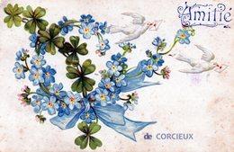 """88 CORCIEUX """"Amitié""""colombes Fleurs En Relief - Corcieux"""