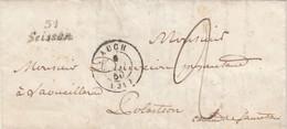 LETTRE. 3 MAI 1850. GERS AUCH + CURSIVE 31/Saissan POUR LAVEILLARAD PAR SAMATAN. TAXE PLUME 2  /  2 - 1849-1876: Classic Period