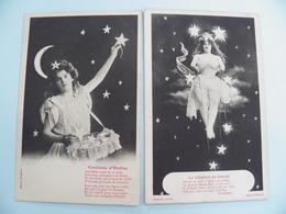 Bergeret 112- 2 Cpa Astre/Etoile (Femmes Legerement Vétues) Isobromure Vers 1905 - Fantaisies