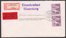 Dresden Zwinger Fontäne 60 Pf, DDR 1919(2) R-Eil-Bf Aus Leipzig An FDGB-Einweisungsstelle Ostseebad Kühlungsborn - DDR
