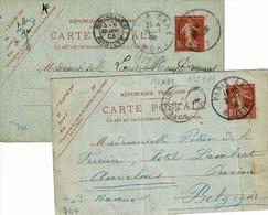 Deux Cartes 135 CP 1, Dates  744 Et 722, 135 X 88 Mm De Paris Et Lille Pour Bruxelles - Entiers Postaux