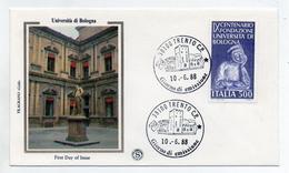 Italia - 1988- Busta FDC - IX Centenario Dell'Università Di Bologna - Con Doppio Annullo Filatelico - (FDC1590) - 1946-.. République