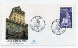 Italia - 1988- Busta FDC - IX Centenario Dell'Università Di Bologna - Con Doppio Annullo Filatelico - (FDC1589) - 1946-.. République