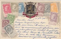 BELGIE / BELGIQUE / CARTE AVEC TIMBRES POSTE / POSTZEGELKAART  1904 / RELIEF - Timbres (représentations)