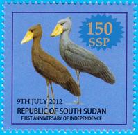 SOUTH SUDAN  Overprint Unadopted Proof On 1 SSP Birds Stamp, Surcharged Value In Silver Südsudan Soudan Du Sud 1B01 - Zuid-Soedan