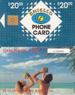 BAHAMAS ISL.(chip) - Beaching In Bahamas(BAH C7D), Small Number In Box, Chip GEM1, Used - Bahamas