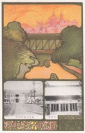 Tokyo Japan Cancel Postmark, Unidentified Teachers College, Art Nouveau Theme Image, C1900s Vintage Postcard - Japan