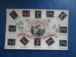 CPA LE SECRET DES TIMBRES COUPLE AMOUREUX - Stamps (pictures)