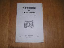 ARDENNE ET FAMENNE N° 1 / 1959 Revue Régionalisme Archéologie Clergé Sous L'Occupation Française Assenois Neufchâteau - Culture