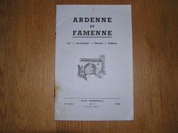 ARDENNE ET FAMENNE N° 4 / 1959 Revue Régionalisme Archéologie Watrin Saint Hubert Fin La Ville Houffalize Walthina - Culture