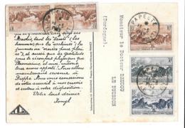 CARTE DE PAPEETE  ..ILE DE TAHITI..   OCEANIE  1949..AVEC TIMBRES.  ..TBE. - Tahiti
