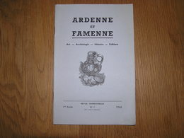 ARDENNE ET FAMENNE N° 1 / 1960 Régionalisme Archéologie Saint Hubert La Roche En Ardenne Meule Salm Petite Bomal Semois - Belgien