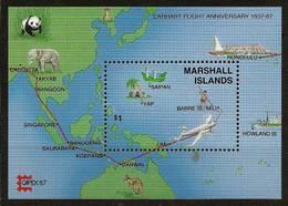 MARSHALL ISLANDS 1987 - 50th Anniv EARHART's Flight Around The World - Bloc 3 Mi 124 AIRMAIL MNH ** Cv€3,60 V328b - Marshall Islands