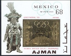 Ajman Michel A 64 Mexico Gold Medal Olympic Winner, Debbie Meyer, Swimming, MNH - Ajman
