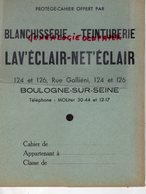 92- BOULOGNE SUR SEINE- PROTEGE CAHIER BLANCHISSERIE TEINTURERIE G. WARTNER- 124 RUE GALLIENI-TEINTURE - Wassen En Poetsen