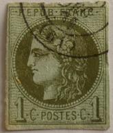 FRANCE Cérès De Bordeaux 1c N°39C Report 3 Olive Oblitéré Cachet à Date, Marges OK - 1870 Emission De Bordeaux