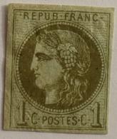 FRANCE Cérès De Bordeaux 1c N°39B Report 2 Olive , Neuf Gomme Incomplète, Aminci - 1870 Emission De Bordeaux