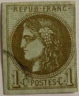 FRANCE Cérès De Bordeaux 1c N°39Cc Report 3 Olive Bronze, Oblitération , Marges OK, Aminci - 1870 Emission De Bordeaux