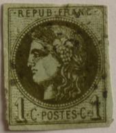 FRANCE Cérès De Bordeaux 1c N°39A, Report 1 Olive , Oblitération GC Noire, Aminci, Marges OK, Pli - 1870 Emisión De Bordeaux