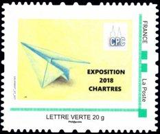 (L138) Chartres 2018 Timbre Personnalisé  Transport Avion En Papier Neuf Sur Son Support - France
