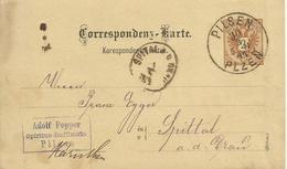 1884 Correspondenz-Karte (Böhm)  Von Pilsen (Plzen) Nach Spital - Entiers Postaux