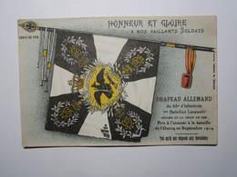 Drapeau Allemand Pris à L'ennemi à La Bataille De L'Ourcq Septembre 1914 Honneur Et Gloire Croix De Fer - War 1914-18