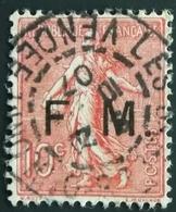 1906 - France Y&T FM 4 Semeuse Lignée - Franchise Militaire - Belle Oblitération VENDEE 1907 - 1903-60 Säerin, Untergrund Schraffiert