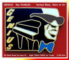 """SUPER PIN'S MUSIQUE-JAZZ : """"GENIUS"""" Ray CHARLES, Très Belle Création TABLO Version NOIRE, BLEUE émaillé Grand Feu Or - Music"""