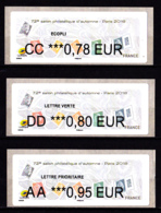 Atm-Lisa / Brother Lot 0.78, 0.80, 0.95 €  Marianne L'engagée, Salon D'automne Paris 2018 - 2010-... Illustrated Franking Labels