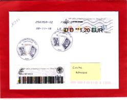 Atm-Lisa / Nabanco, Lettre Suivie 20 Gr, 1,20 €, Voyagée, Obl 08/11/18, Marianne L'engagée, Salon D'automne Paris 2018 - 2010-... Vignettes Illustrées