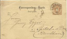 1884 Correspondenz-Karte (Slov)  Von Krainburg (Kranj - Slovenia) Nach Spital - Entiers Postaux