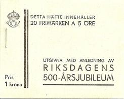 SWEDEN, 1933, Booklet 26 (Facit), Mi 221, 20x5, Parliamewnt 500 Y, Inverted - Boekjes
