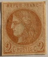 FRANCE Cérès De Bordeaux 2c N°40B, Report 2 Brun Rouge , Non Oblitéré Sans Gomme, Aminci, Marges OK - 1870 Emission De Bordeaux