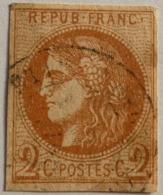 FRANCE Cérès De Bordeaux 2c N°40B, Report 2 Brun Rouge , Oblitéré CAD, Tache Marges OK - 1870 Emission De Bordeaux