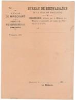 Ordonnance Médecin Des Pauvres / 1900 / Bureau Bienfaisance Mirecourt 88 Vosges - France