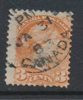 CANADA, 1870 3c Orange-red,Montreal Print, SG83 - 1851-1902 Regering Van Victoria