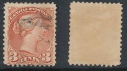 CANADA, 1870 3c Indian Red 1st Ottawa, One Split Perf,SG79,cat £50 - 1851-1902 Regering Van Victoria