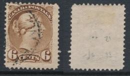 CANADA, 1870 6c Yellow-brown (thin Paper),Montreal Print, SG86, Cat £23 - 1851-1902 Regering Van Victoria