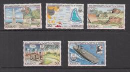 1983 Kiribati WWII Battle Of Tarawa Navy Ships Map Aircraft Carrier  Complete  Set Of 5 MNH - Kiribati (1979-...)