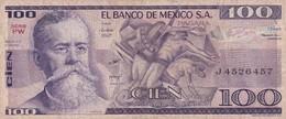 CIEN PESOS. V.CARRANZA. SERIE PW. MEXICO. CIRCA 1989-BILLETE BANKNOTE BILLET-BLEUP - Mexico