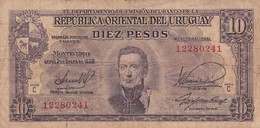 DIEZ PESOS.SERIE C URUGUAY. CIRCA 1939-BILLETE BANKNOTE BILLET-BLEUP - Mexique