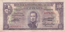DIEZ PESOS SERIE D URUGUAY CIRCA 1940s-BILLETE BANKNOTE BILLET-BLEUP - Uruguay