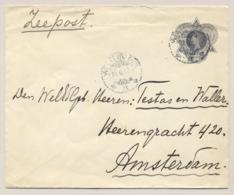 Nederlands Indië - 1916 - 10 Cent Wilhelmina, Envelop G36b Per Zeepost Van KB Weltevreden Naar Amsterdam - Nederlands-Indië