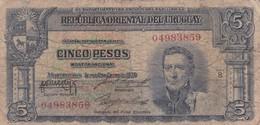 CINCO PESOS SERIE B URUGUAY CIRCA 1940s-BILLETE BANKNOTE BILLET-BLEUP - Uruguay
